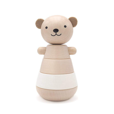 LOVE THIS! Stacking Wooden Bear - White from Briki Vroom Vroom - shop at littlewhimsy NZ
