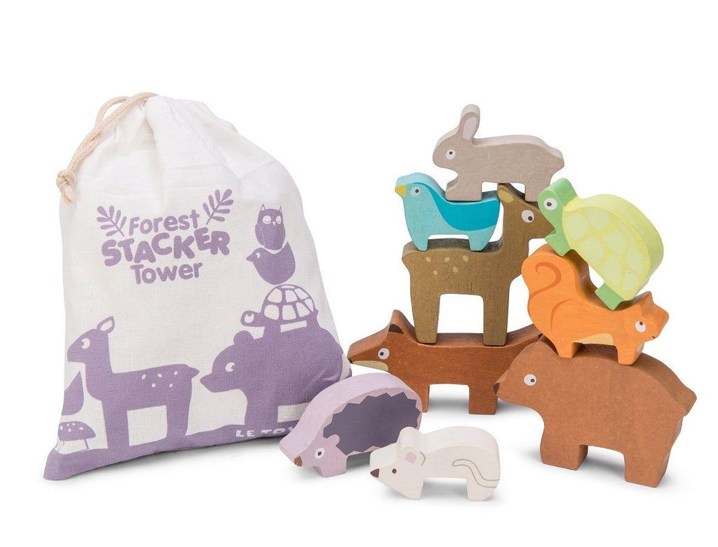 LOVE THIS! Le Toy Van Forest Stacker Tower and Bag from Le Toy Van - shop at littlewhimsy NZ