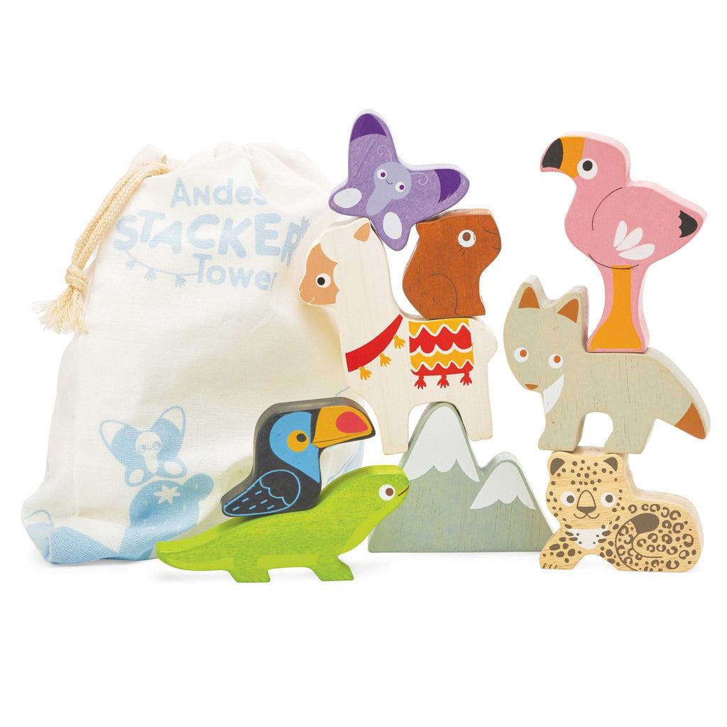 LOVE THIS! Le Toy Van Andes Stacker Tower and Bag from Le Toy Van - shop at littlewhimsy NZ