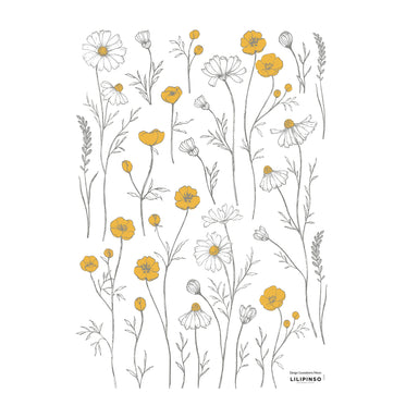 Wall Decals - Buttercups and Chamomile Flowers