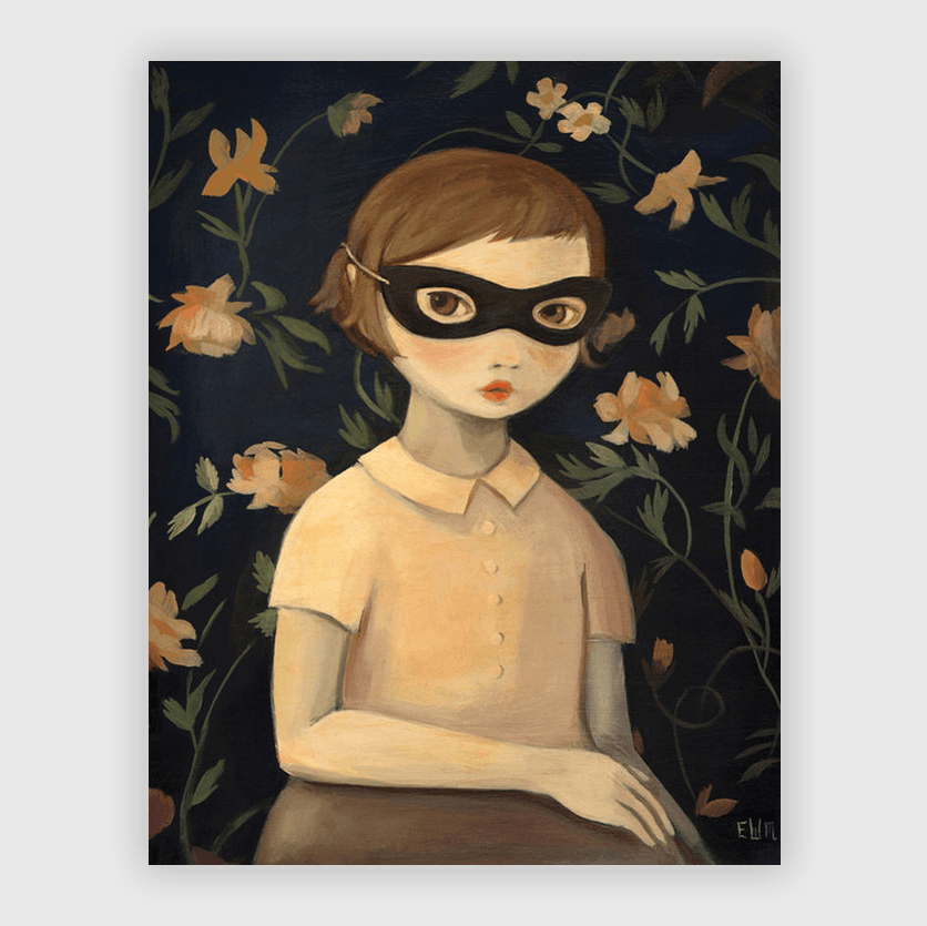 Masked Evaline and Floral Wallpaper Art Print Larger 11x14""