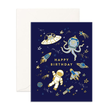 LOVE THIS! Happy Birthday Space Greeting Card from Fox & Fallow - shop at littlewhimsy NZ
