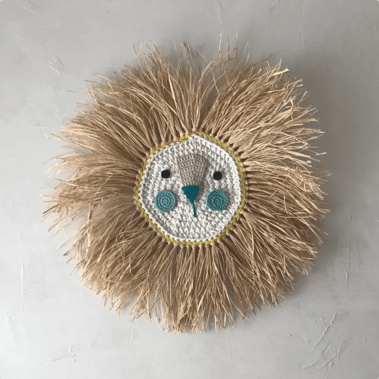 LOVE THIS! ILA Y ELA Lion Wall Hanging - Natural with Turquoise Face 65 cm from ILA Y ELA - shop at littlewhimsy NZ