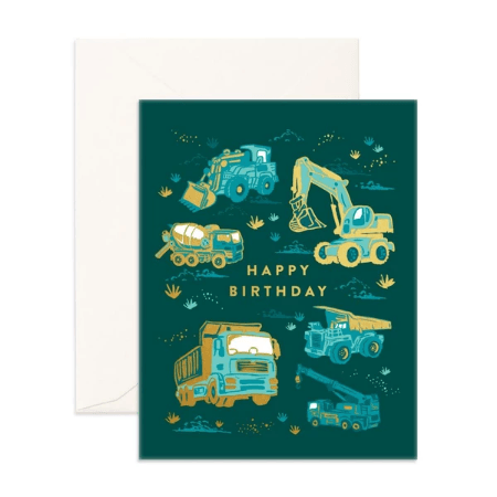 LOVE THIS! Happy Birthday Trucks Greeting Card from Fox & Fallow - shop at littlewhimsy NZ