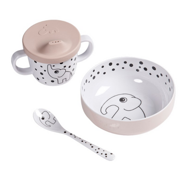 First Meal Set - Happy Dots Powder Pink