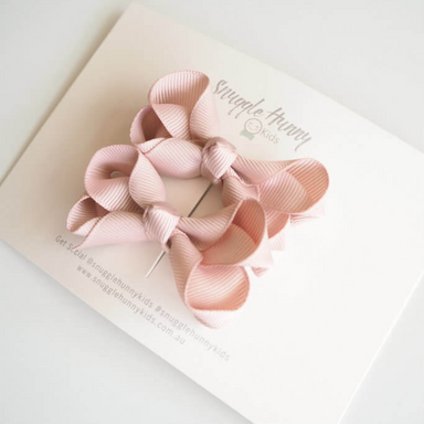 Hair Clip Bow - Nude Pink Small Piggy Pair