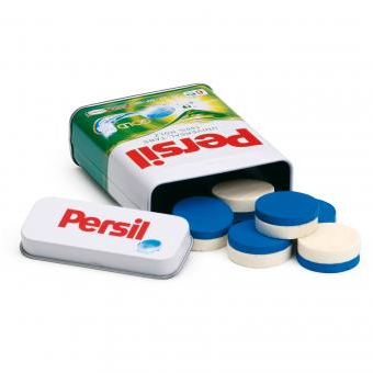 Wooden Detergent Tablets Persil in a Tin