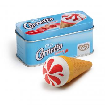 Wooden Food Ice Cream Cornetto Strawberry in a Tin