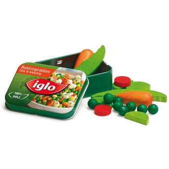 Wooden Food Frozen Vegetables Iglo in a Tin