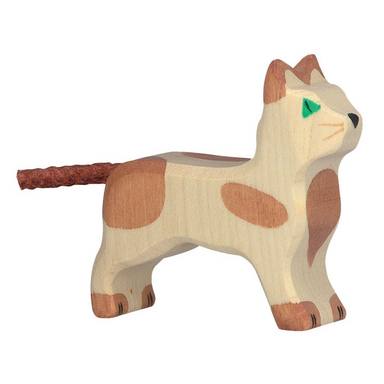 Wooden Cat Brown Spotted - Holztiger