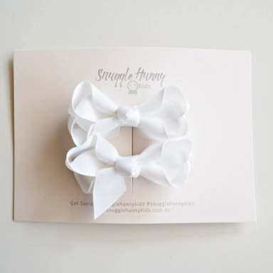 Hair Clip Bow - White Small Piggy Pair