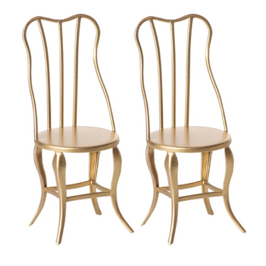 Maileg Furniture - Vintage Chairs Gold 2 Pack - For Micro