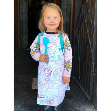 LOVE THIS! Kids' Kuwi Apron & Silicone Spatula from Illustrated Publishing - shop at littlewhimsy NZ