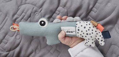 LOVE THIS! Tiny Rattle Croco from Done by Deer - shop at littlewhimsy NZ