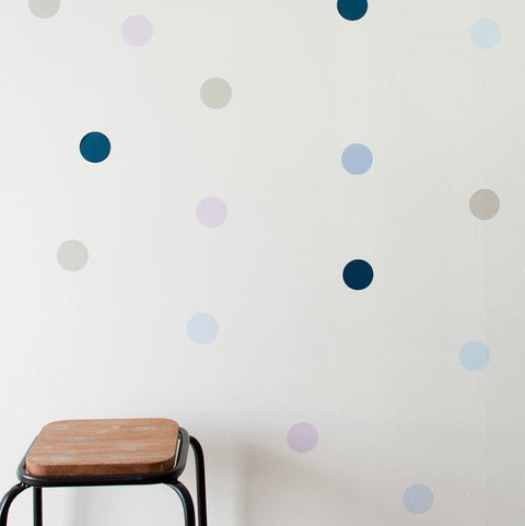 Wall Decals - Polka Dot Wall Art Stickers - Blues
