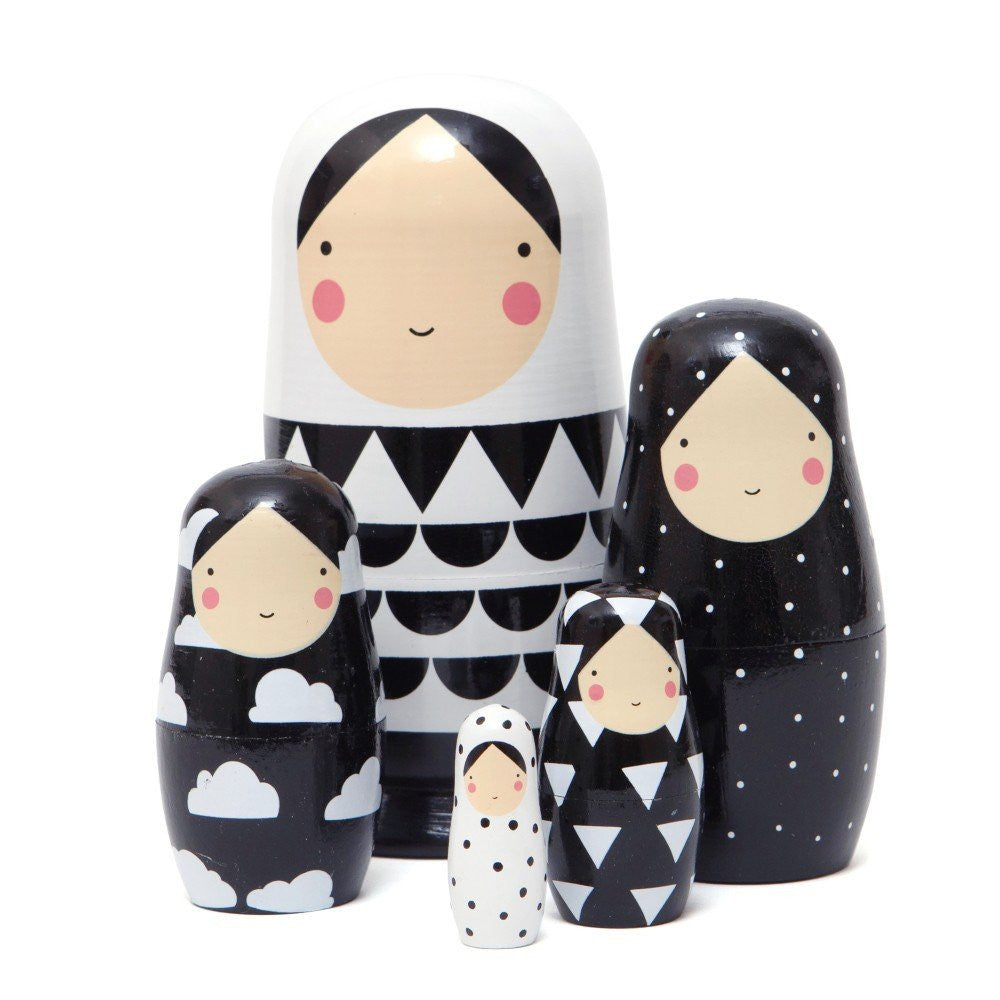 LOVE THIS! Nesting Dolls Black and White Sketch Inc from Petit Monkey - shop at littlewhimsy NZ