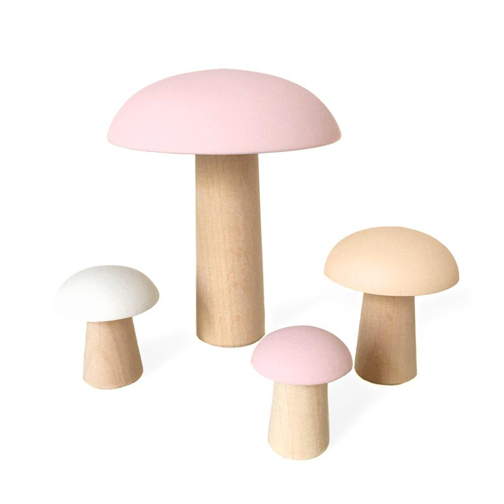 LOVE THIS! Champignons de Paris Pastel Pinks - Wood Mushrooms Decoration from Briki Vroom Vroom - shop at littlewhimsy NZ