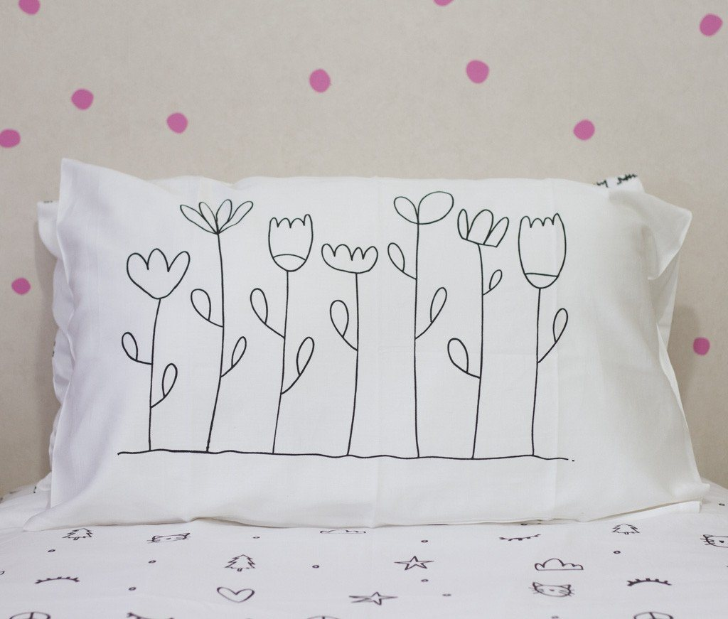 LOVE THIS! Floral Organic Pillow Case from 100 Percent Heart - shop at littlewhimsy NZ