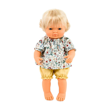 Miniland Doll Clothing 38cm - Floral Blouse and Yellow Bloomers