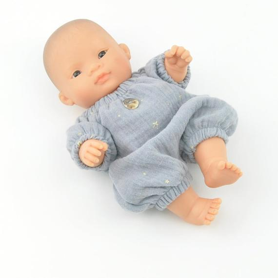 LOVE THIS! Miniland Doll Clothing - Grey Star Romper - for 21cm Doll from Przytullale - shop at littlewhimsy NZ