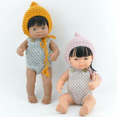 LOVE THIS! Miniland Doll Clothing - Knit Overall Pink - for 38cm Doll from Przytullale - shop at littlewhimsy NZ