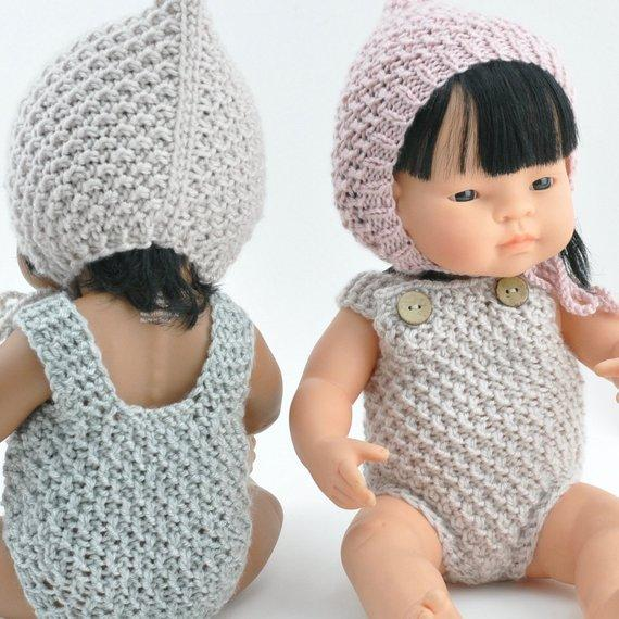 LOVE THIS! Miniland Doll Clothing - Knit Overall Beige - for 38cm Doll from Przytullale - shop at littlewhimsy NZ