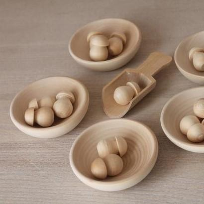 LOVE THIS! Montessori Toy - Wooden Mushroom Sorter from ROSTOK Wooden Toys - shop at littlewhimsy NZ