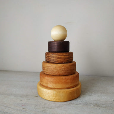 LOVE THIS! Wooden Stacker of Different Woods from ROSTOK Wooden Toys - shop at littlewhimsy NZ