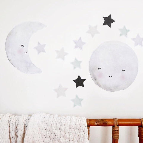 Moon and Star Decals - Collaboration with Carisse Enderwick from 100 Percent Heart - shop at littlewhimsy NZ