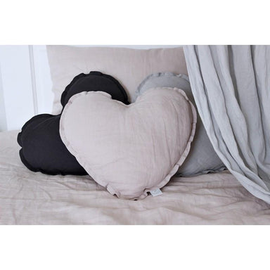 LOVE THIS! Heart Cushion Large - Dusty Pink Linen from Cotton & Sweets - shop at littlewhimsy NZ