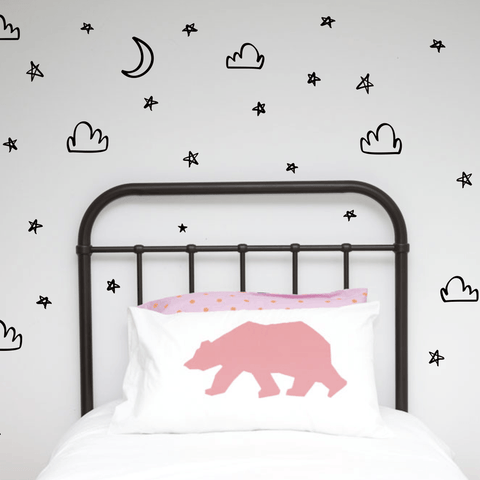 Wall Decals - Handpainted Moons, Stars, Clouds from 100 Percent Heart - shop at littlewhimsy NZ