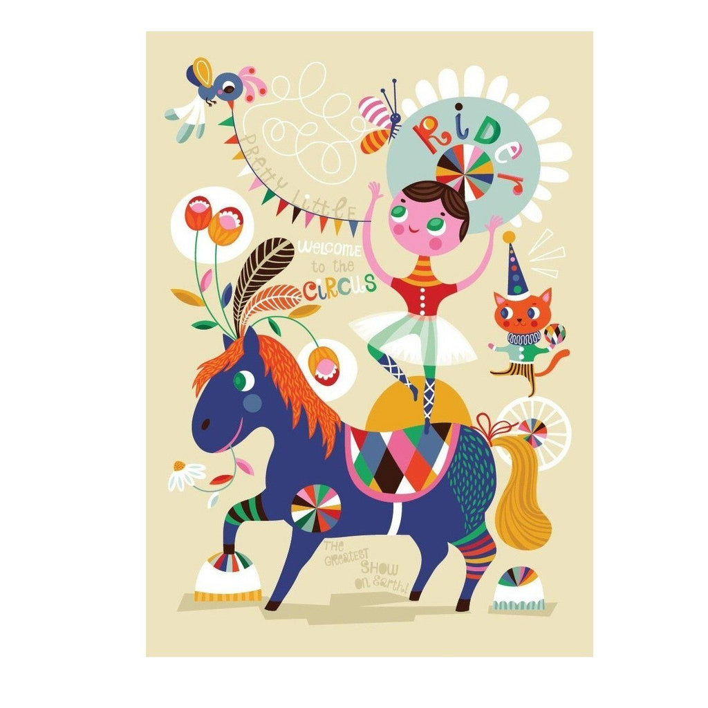 LOVE THIS! Poster Pretty Little Rider 50x70cm by Helen Dardik from Petit Monkey - shop at littlewhimsy NZ