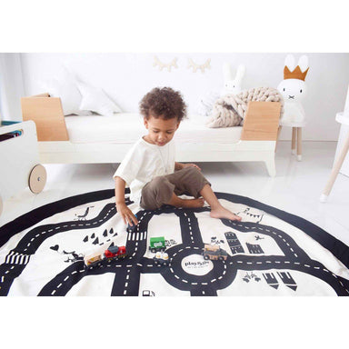 LOVE THIS! Play and Go Storage Bag and Playmat in Road Map/Thunderbolt 140cm from Play & Go - shop at littlewhimsy NZ