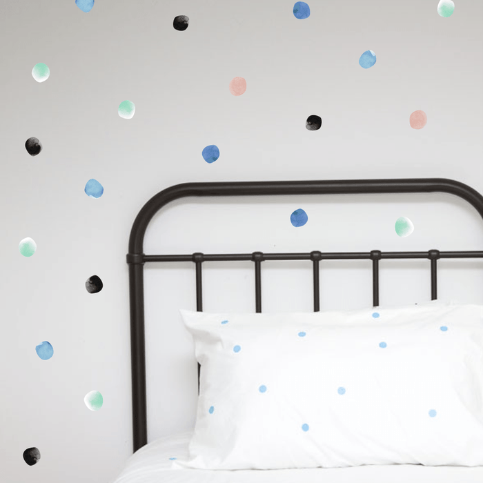 LOVE THIS! Wall Decals - Watercolour Hand Painted Polka Dots - Spring from 100 Percent Heart - shop at littlewhimsy NZ