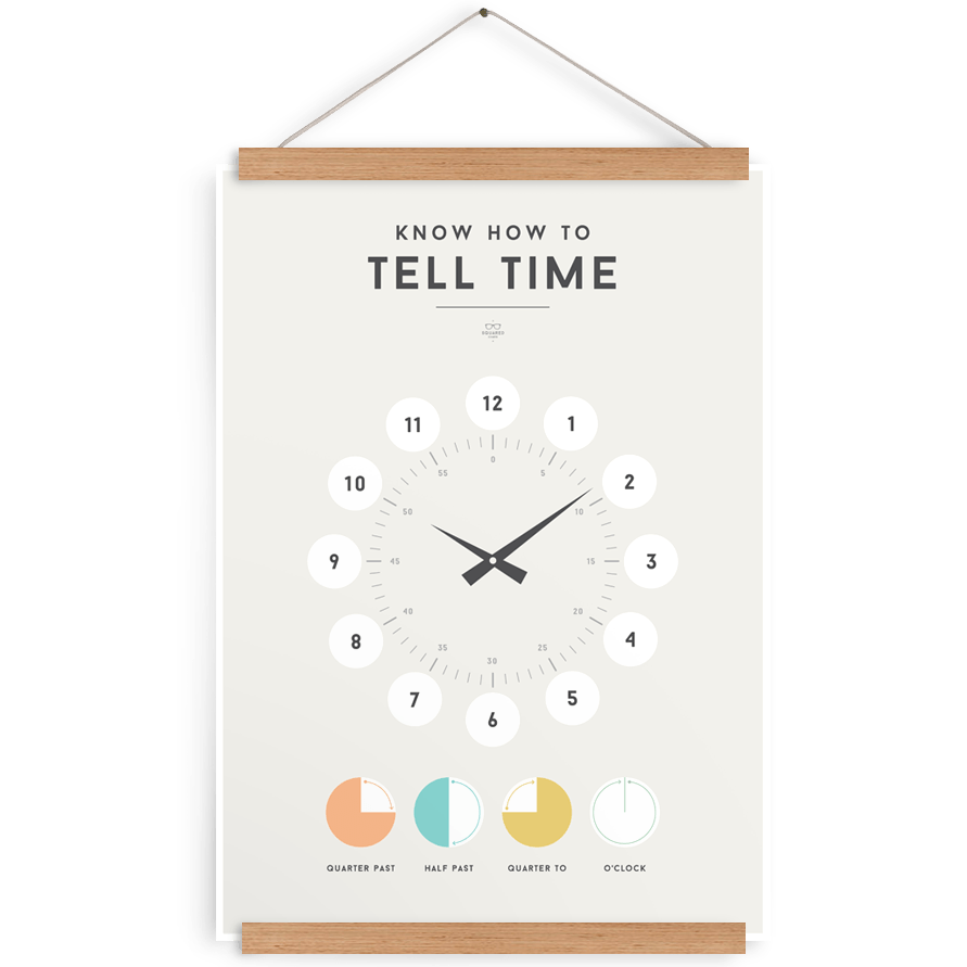 LOVE THIS! Squared Charts - Tell Time from Squared Charts - shop at littlewhimsy NZ