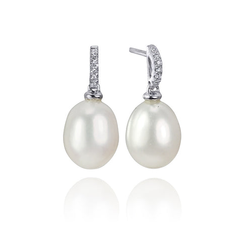 14KT Gold Pearl and Diamond Earrings