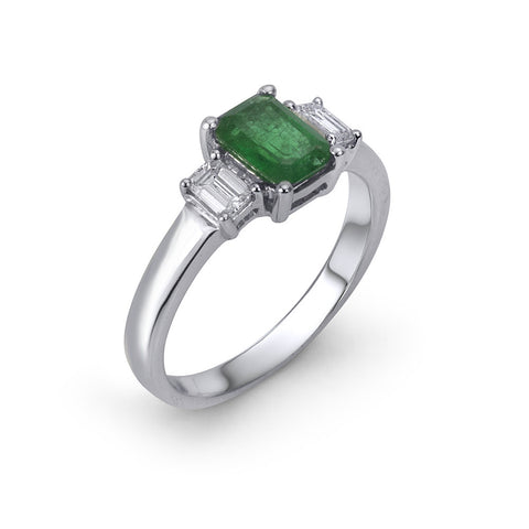 14KT Gold Emerald Diamond Ring