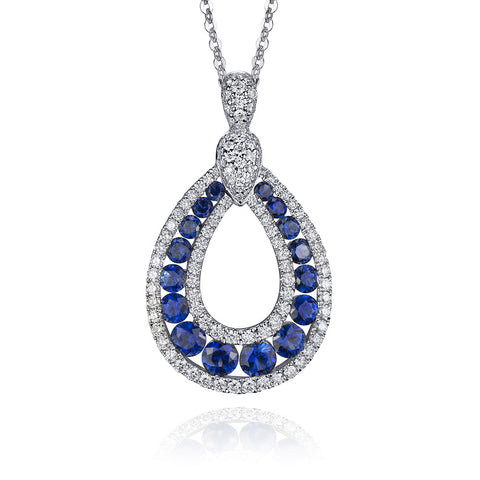 18KT Gold Sapphire and Diamond Pendant
