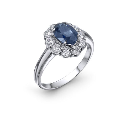 14KT Gold Sapphire Diamind Ring