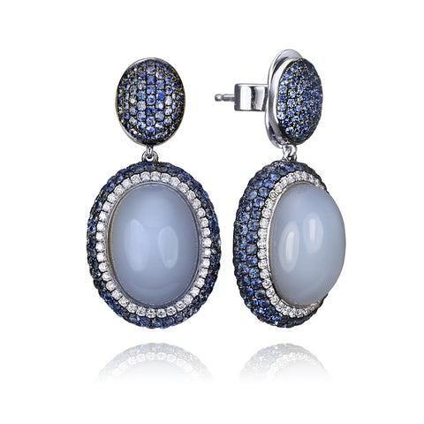 18KT Gold Chacedony Sapphire Diamond Earrings