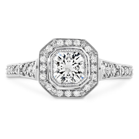 18KT Gold Diamond Deco Chic Halo Engagement Ring
