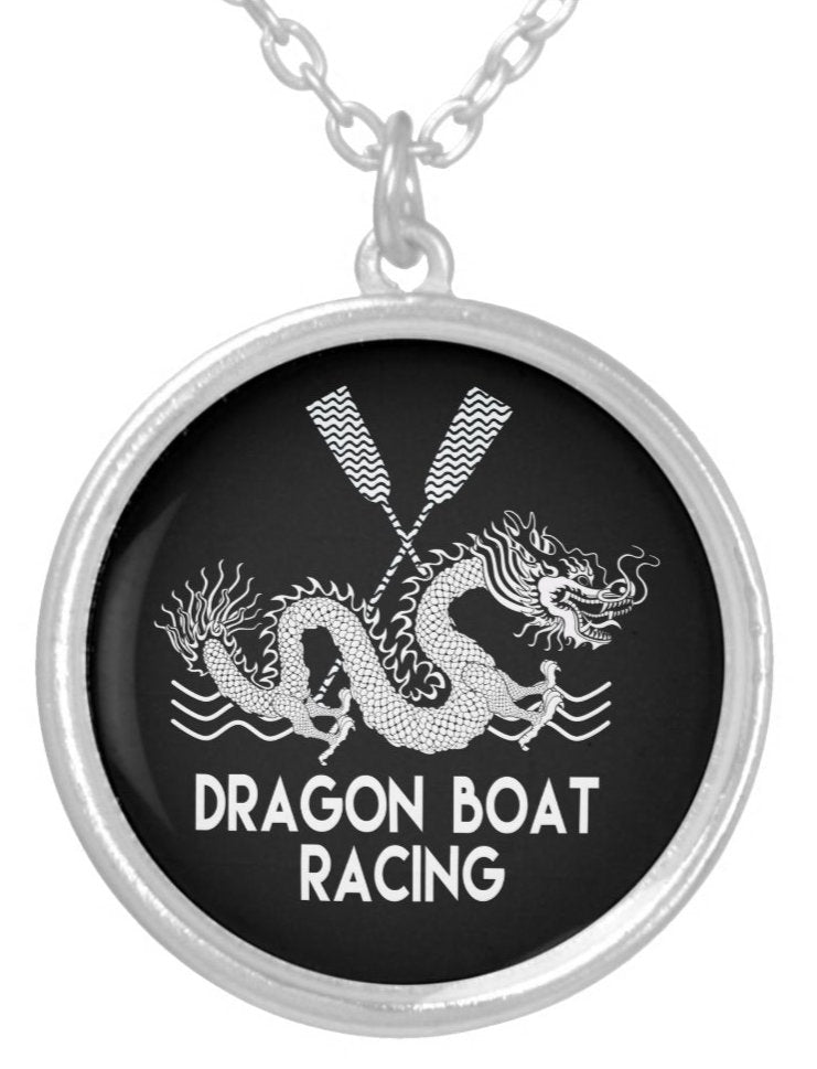 Black and White Dragon Boat Racing Silver Plated Necklace