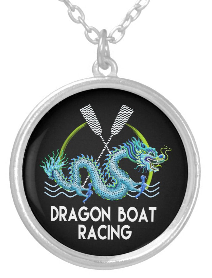 Blue Dragon Boat Racing Silver Plated Necklace