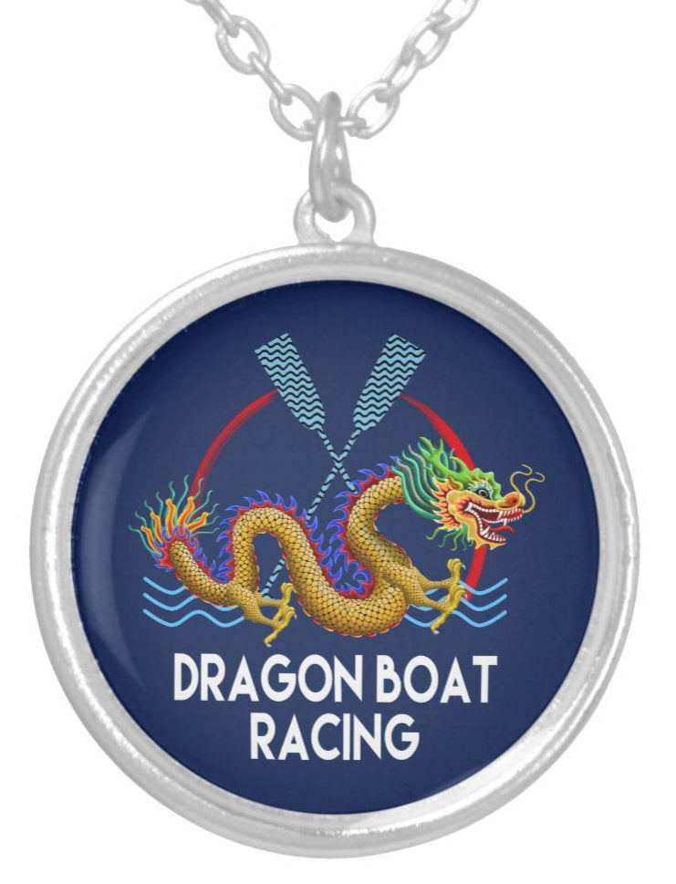 Gold and Blue Dragon Boat Racing Silver Plated Necklace