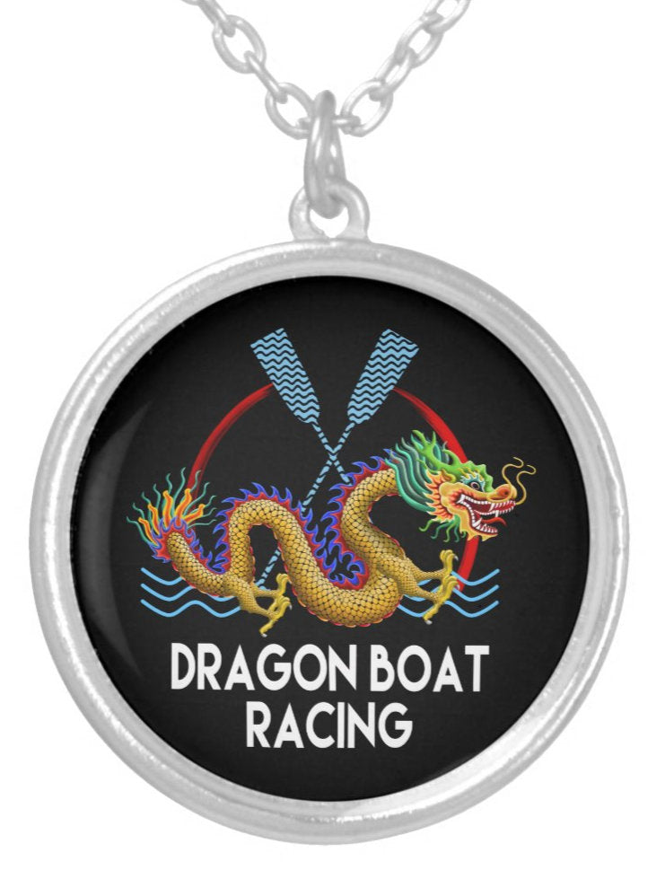 Gold Dragon Boat Racing Silver Plated Necklace