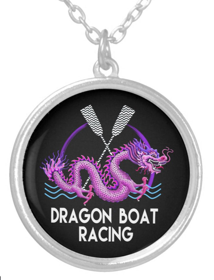 Pink Dragon Boat Racing Silver Plated Necklace