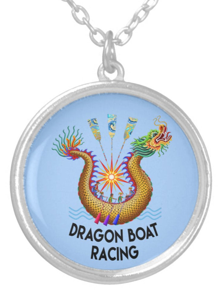 Gold Dragon Boat Racing Logo Blue Silver Plated Necklace