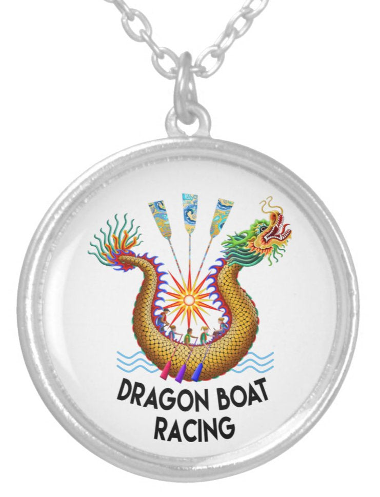 Gold Dragon Boat Racing Logo Silver Plated Necklace