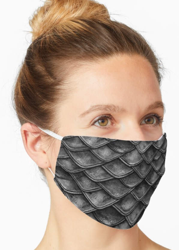 Gray dragon scale face mask