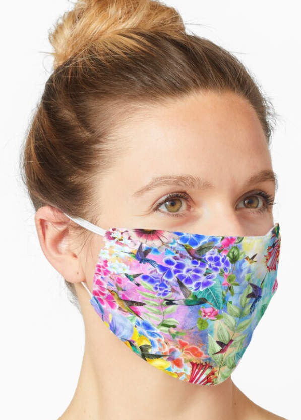 Face Mask Humming Birds and Flowers